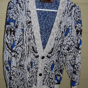Vintage 80s Mens Cosby Abstract Cardigan Uniform Code Black White Gray Electric Blue Sweater Size Medium