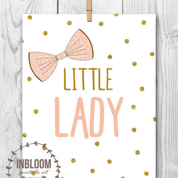 Little Lady Printable Art, Pink and Gold Wall Decor, Pink and Mint Wall Decor, Pink and Gold Room, Pink and Mint Room, Pink and Gold Nursery