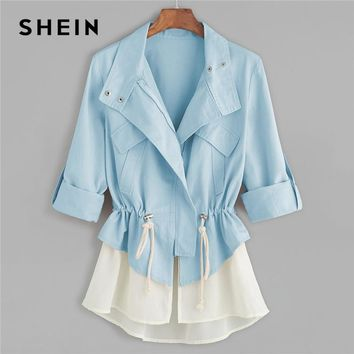 Trendy SHEIN Blue Roll Sleeve Drawstring Jacket With Contrast Trim Elegant Cotton Colorblock Zipper Coat Women Autumn Outerwear Coats AT_94_13