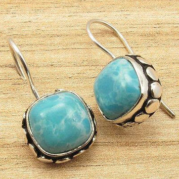 Larimar square silver earrings