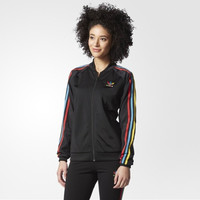 """Adidas"" Multicolor Stripe Clover Print Long Sleeve Sportswear Zip Cardigan Jacket Coat"