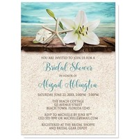 Lily Seashells Sand Beach Bridal Shower Invitations for only $1.95
