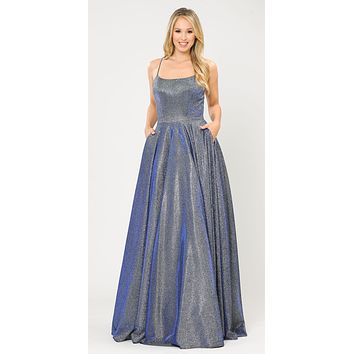Long Glitter Prom Dress Royal Blue Spaghetti Straps with Pockets