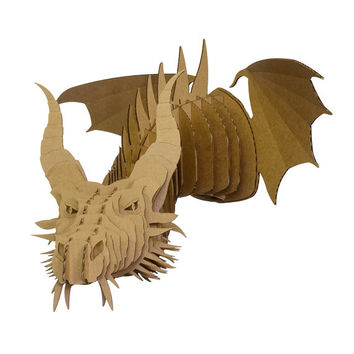 Nikita - Large Cardboard Dragon Head - Brown