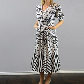 90's Vintage Fit and Flare Multi Patterned Dress/ Black and White