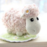 Hand knitted and crocheted toy ,Sheep on a Meadow, light pink and cream Sheep, Fuzzy Green Grass Crochet mat with Flowers, children toy
