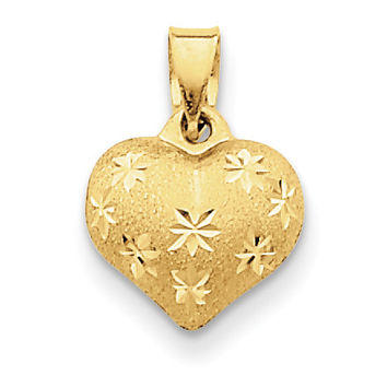 14k Satin & Diamond Cut Puffed Heart Pendant K2502