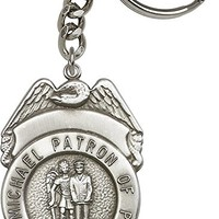 Antique Silver St. Michael the Archangel Keychain. Police Officers/EMTs