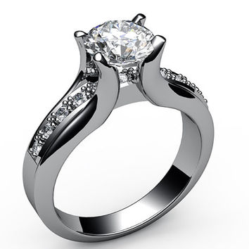 Forever one moissanite engagement ring 18K White Gold Tension Ring