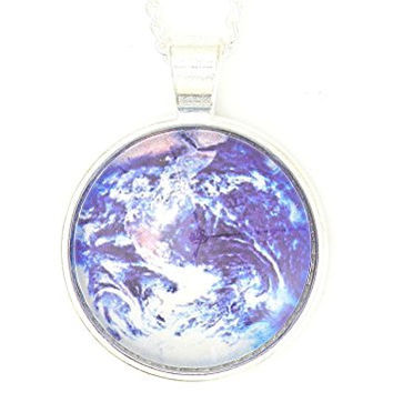 Planet Earth Globe Necklace Silver Tone Outer Space Orbit Photo Pendant NP56 Fashion Jewelry