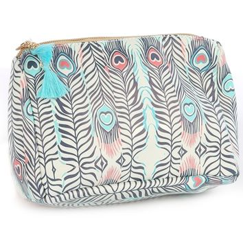 Feather Vinyl Tassel Charm Cosmetic Bag