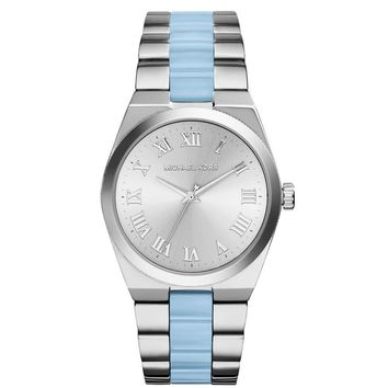 MICHAEL KORS Channing Silver Dial SChambray Acetate Ladies Watch