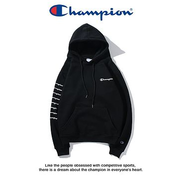 Champion Tide brand classic limited edition three-dimensional print hooded plus velvet sweater Black