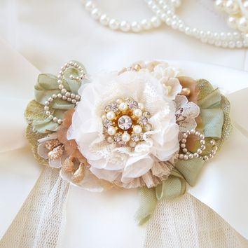 Pearls and Sparkle ~ Floral Bridal Belt