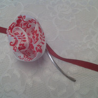 Red and White Ribbon Flower Small Silver Bookmark