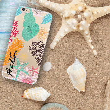 Beach transparent Iphone 6 Plus case clear, Shells Iphone 6 case clear, Summer tech accessories, Christmas gift idea for teens (1622)