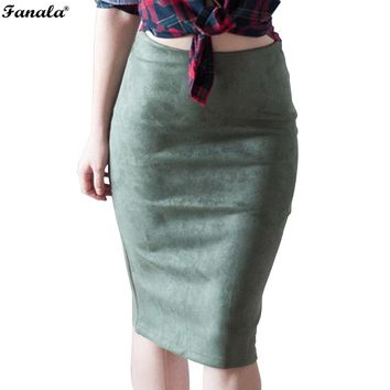 Winter Autumn Skirt Women midi mujer 2017 Midi Skirts Womens Vintage Faux Suede High Waist Solid Tube Bodycon Pencil Skirt