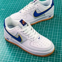 Nike Air Force 1 Low Af1 Retro Qs White Blue Yellow Sneakers - Best Online Sale