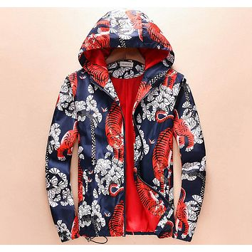 GUCCI trend hooded personality tiger high-end fashion printed casual jacket F-A00FS-GJ Blue