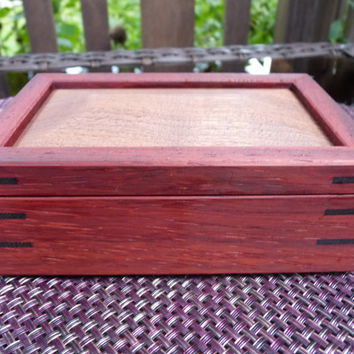 Handcrafted Jewelry/ Keepsake Box in Padauk with Walnut Lid and Wenge Keys