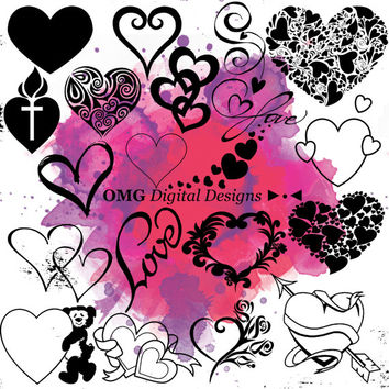 20 Heart Digital Clipart, Clipart Design Elements, Instant Download, Black Silhouette Clip art