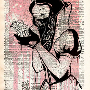 Snow White with grenade, GOIN graffiti street art, vintage dictionary print book page art