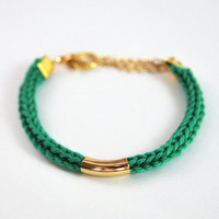 Emerald green bracelet with gold bar, cotton bracelet with gold tube, knit bracelet