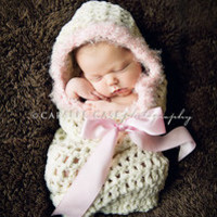 Cream and Pink Snuggle Baby Cocoon  — Gracie's Garden Designs