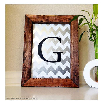 Monogram Sign, Chevron Monogram, Personalized Monogram Hanging Wall Sign, Wall Art, Nursery or Wedding Sign, Distressed Metal & Wood