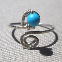 Turquoise Wrapped Silver Wire Spiral Toe Ring Adjustable Size