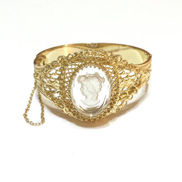 Whiting and Davis Gold Cameo Filigree Bangle, Glass Cameo, Victorian Revival Jewelry, Wedding Jewelry, Vintage Jewelry, 1950s