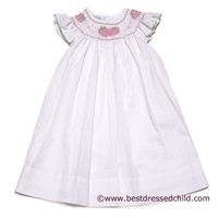 LeZaMe Kids Sucre' Sweet Pink Dress with Flutter Sleeves and Smocked Strawberries