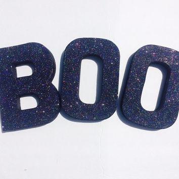 BOO black glitter Halloween decor letters, home decor, wall letters, halloween decorations, all hallows eve, holiday decor, boo letters
