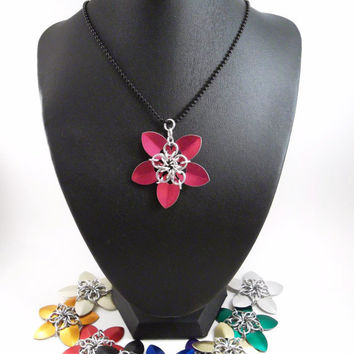 Chainmaille Necklace Scale Flower Pendant  - Choose your Color