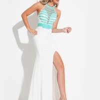 Triangle Beaded Halter Prom Dress By Rachel Allan Princess 2869