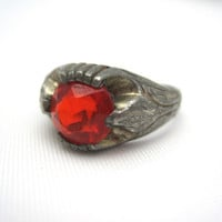 Vintage Red Stone Ring - Art Deco