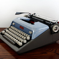 Royal Futura 800 Manual Typewriter -  Working Typewriter - Vintage Blue and Gray Typewriter - Excellent Condition