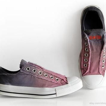 Ombr¨¦ dip dye Converse, blossom pink, blue grey, slip-on sneakers, tie dye, transforme