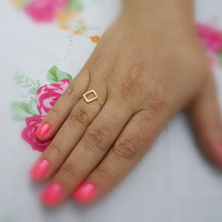 Gold ring, chain ring, square ring ,14k gold filled chain, dainty ring, thin ring, any size, simple gold ring -147