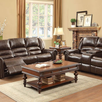 Center Hill Reclining Sofa & Loveseat Set 9668BRW