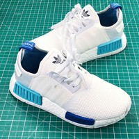 Adidas Nmd R1 Pk Boost White Blue Sport Running Shoes - Best Online Sale