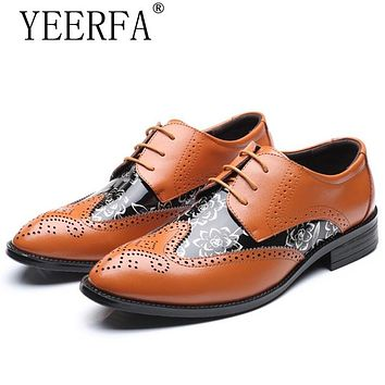 YIERFA Big Size 38-47 Men Wedding Dress Shoes Black Brown Oxford Shoes Formal Office Business British Lace-up Men's Footwear