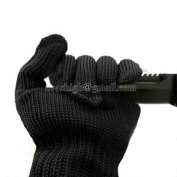 10 pair work gloves black safety protective anti static cut resistant mechanic butcher working gloves stainless steel wire