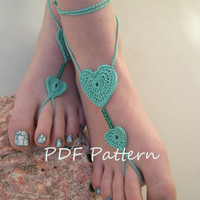 Heart Barefoot sandals pattern -  anklet pdf pattern - bridesmaid foot jewelry pattern - beach wedding shoes pattern