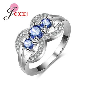JEXXI Charm 925 Sterling Silver 3Stone Bridal Promise Engagement Ring Gift Vintage Band Style Jewelry Wedding Rings For Women