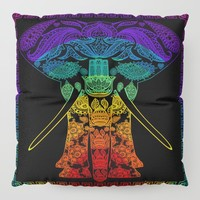 Multi Coloured Patterned Elephant Floor Pillow by inspiredimages