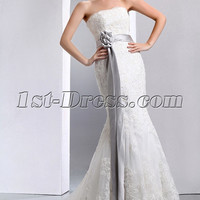 1950s Vintage And Retro Strapless Neckline Fit -and -Flare Mermaid/Fishtail Lace Wedding Dress