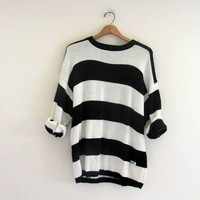 vintage 80s striped GUESS sweater. black and white oversized sweater. M