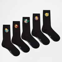 ASOS Socks 5 Pack With Simpsons Design at asos.com