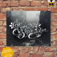 "Count Your Many Blessings - Digital Printable Christian Lyric Hymn Wall Art Decor Poster 8""x10"""